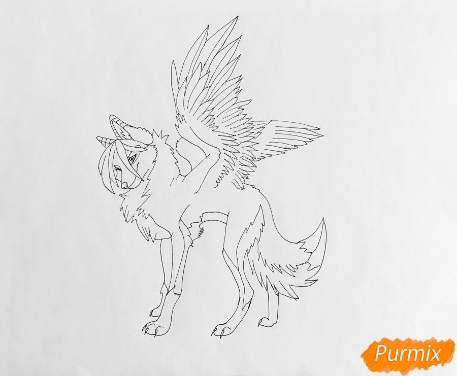 Рисуем серую аниме волчицу с крыльями - шаг 6