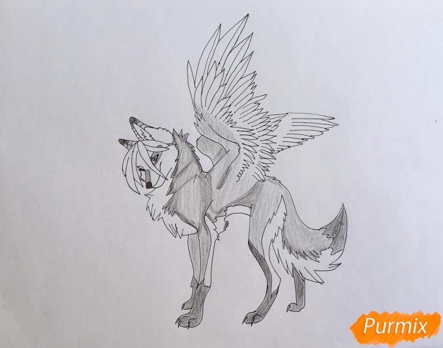 Рисуем серую аниме волчицу с крыльями - шаг 7