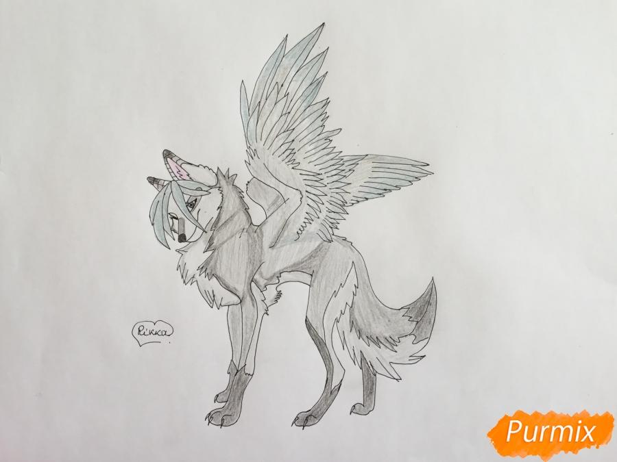 Рисуем серую аниме волчицу с крыльями - шаг 8