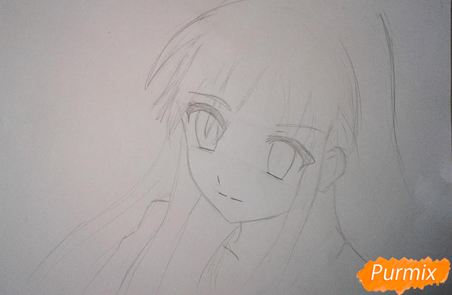 Рисуем Шану из аниме Жгучий взор Шаны - шаг 2