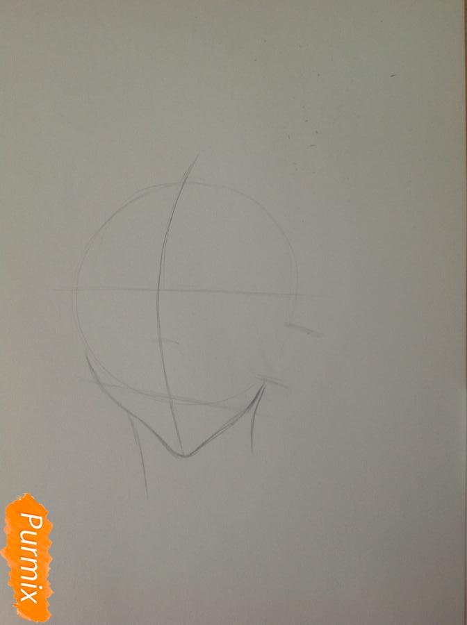 Рисуем шефа Макину из аниме Страна чудес смертников карандашами - шаг 1