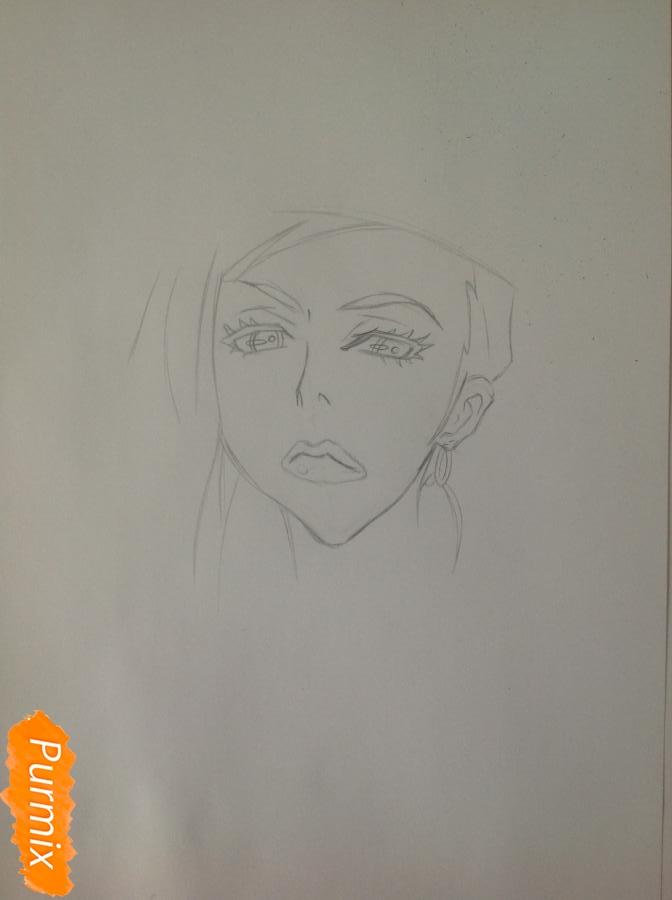 Рисуем шефа Макину из аниме Страна чудес смертников карандашами - шаг 3