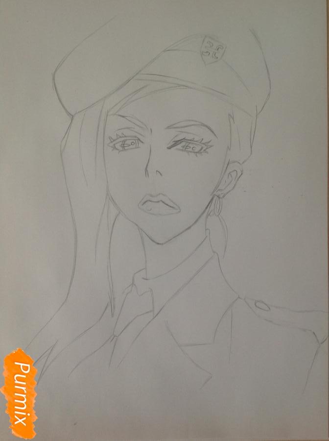 Рисуем шефа Макину из аниме Страна чудес смертников карандашами - шаг 5