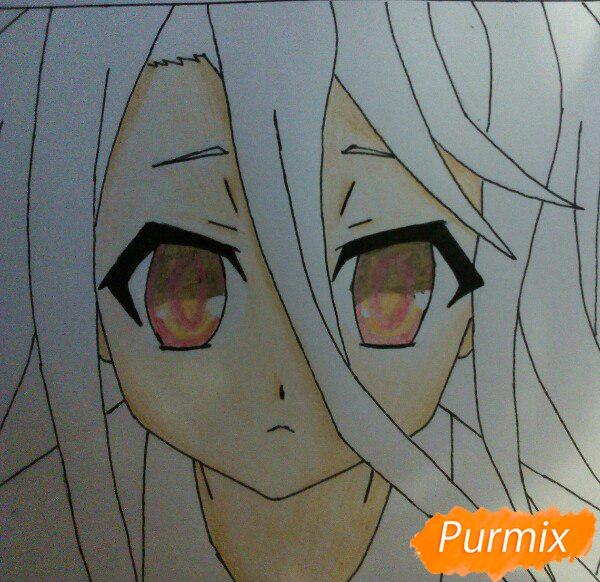 Рисуем Широ из аниме Нет игры нет жизни цветные карандашами - шаг 10