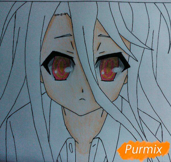 Рисуем Широ из аниме Нет игры нет жизни цветные карандашами - шаг 11