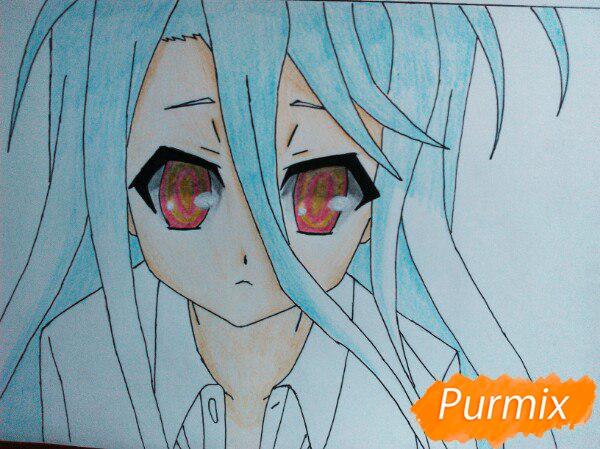 Рисуем Широ из аниме Нет игры нет жизни цветные карандашами - шаг 12
