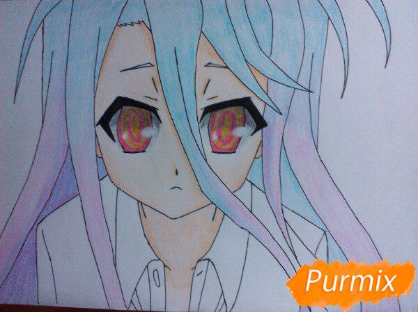 Рисуем Широ из аниме Нет игры нет жизни цветные карандашами - шаг 13
