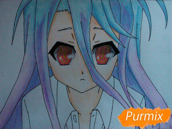 Рисуем Широ из аниме Нет игры нет жизни цветные карандашами - шаг 14