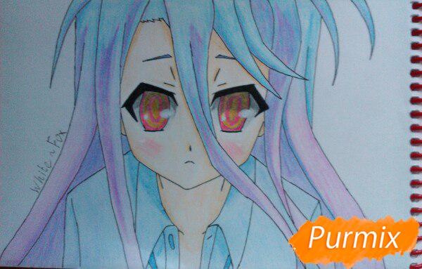 Как нарисовать Широ из аниме Нет игры нет жизни цветные карандашами поэтапно