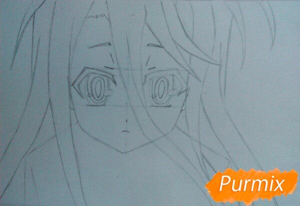 Рисуем Широ из аниме Нет игры нет жизни цветные карандашами - шаг 4