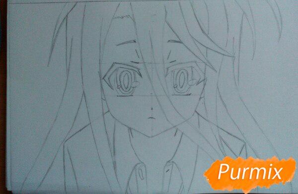 Рисуем Широ из аниме Нет игры нет жизни цветные карандашами - шаг 5
