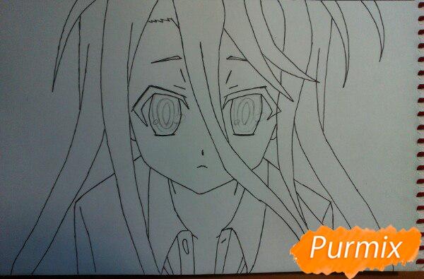 Рисуем Широ из аниме Нет игры нет жизни цветные карандашами - шаг 6