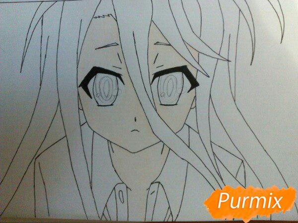 Рисуем Широ из аниме Нет игры нет жизни цветные карандашами - шаг 7