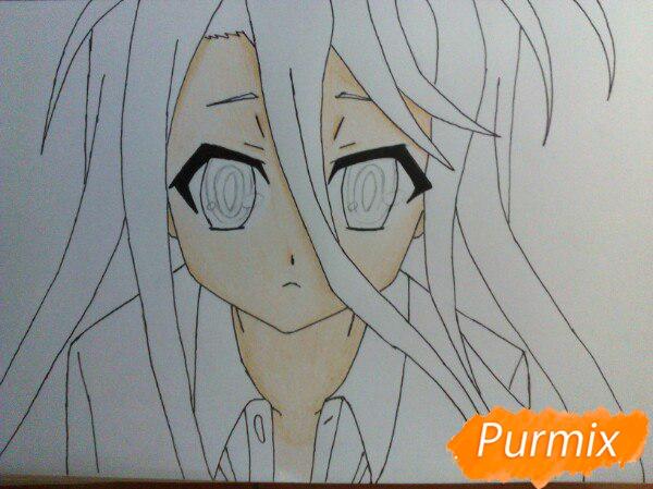 Рисуем Широ из аниме Нет игры нет жизни цветные карандашами - шаг 8