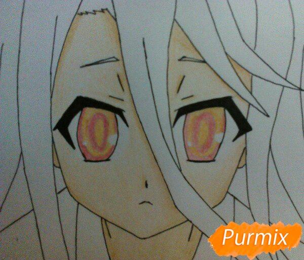 Рисуем Широ из аниме Нет игры нет жизни цветные карандашами - шаг 9