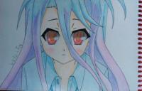 Рисунок Широ из аниме Нет игры нет жизни цветные