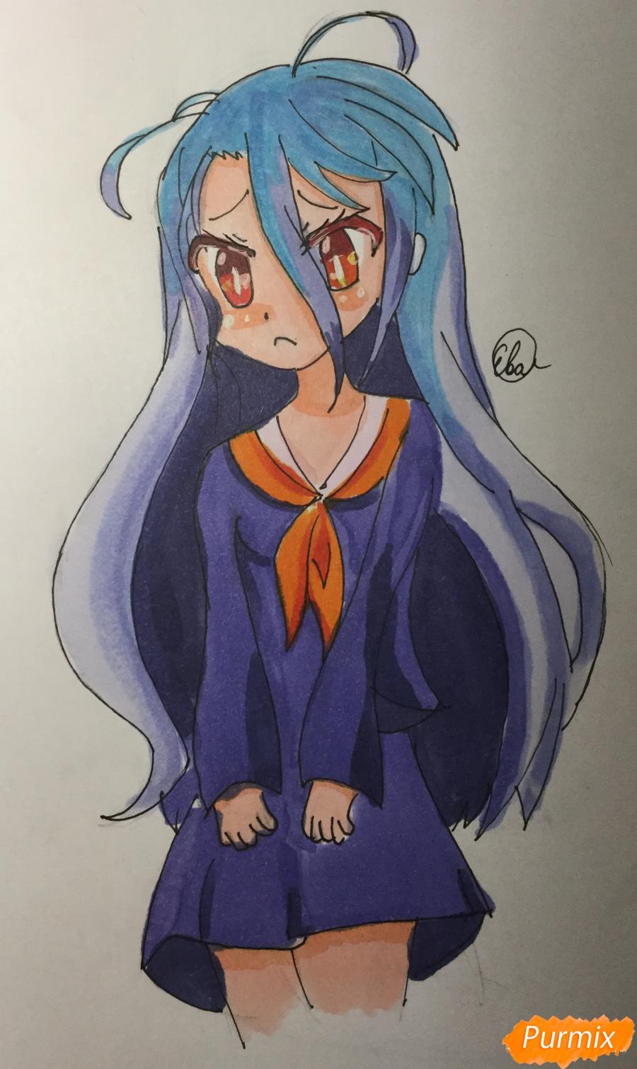 Как нарисовать Широ из аниме Нет игры нет жизни карандашом поэтапно