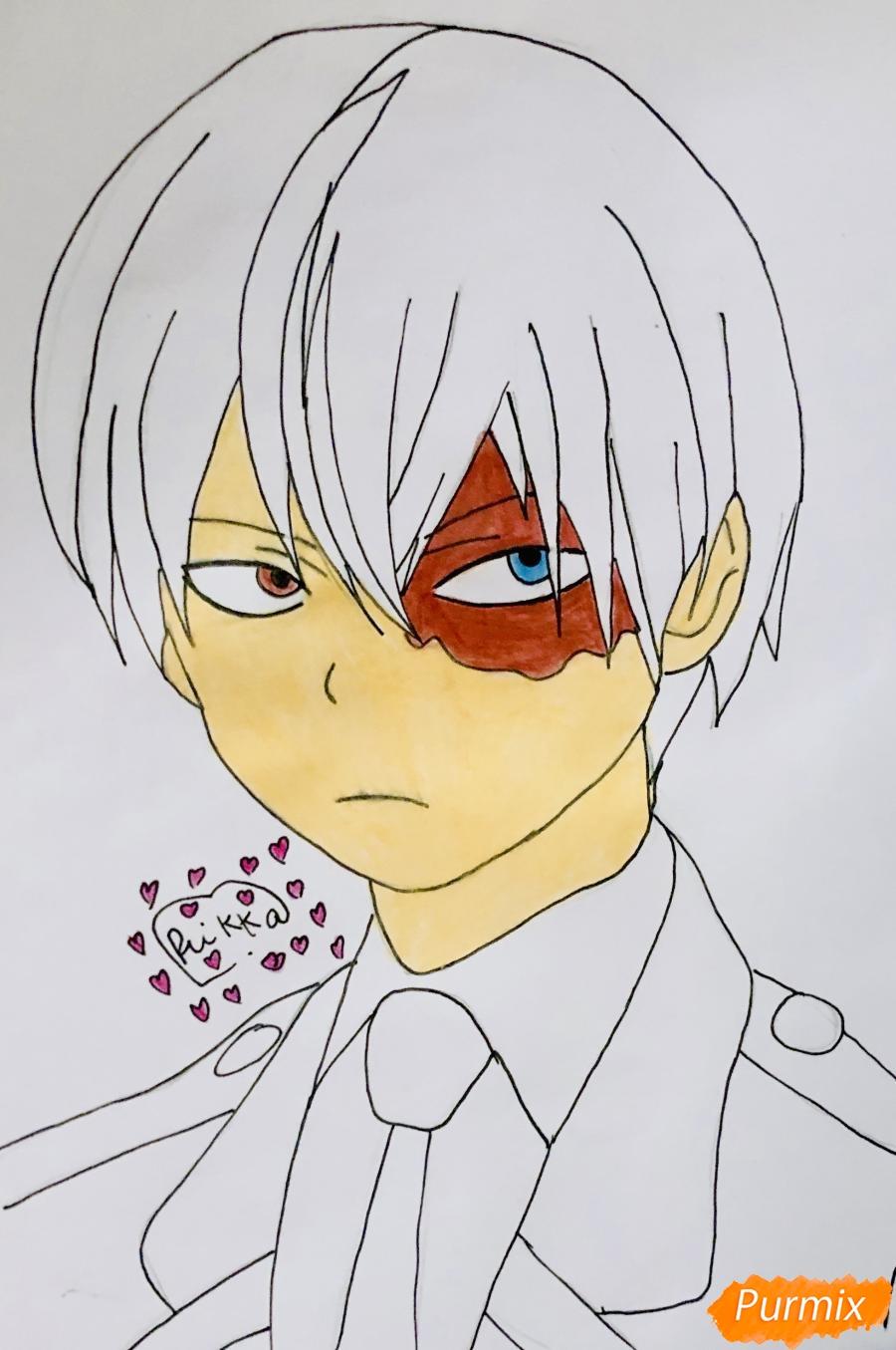 Рисуем Шото Тодороки из аниме моя Геройская Академия карандашами - фото 6