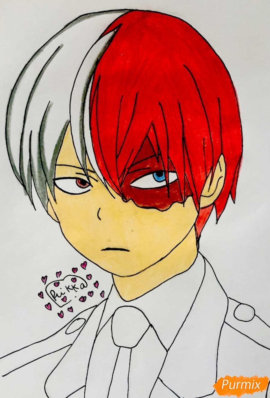 Рисуем Шото Тодороки из аниме моя Геройская Академия карандашами - фото 7