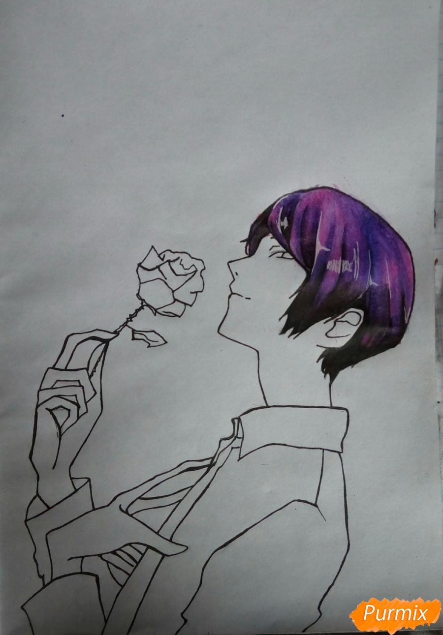 Рисуем Шу Цукияму из аниме Токийский гуль карандашами - фото 10