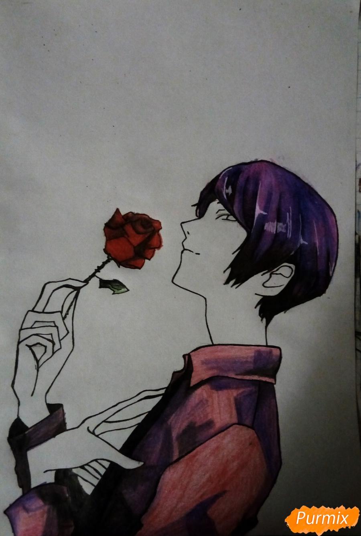 Рисуем Шу Цукияму из аниме Токийский гуль карандашами - фото 13