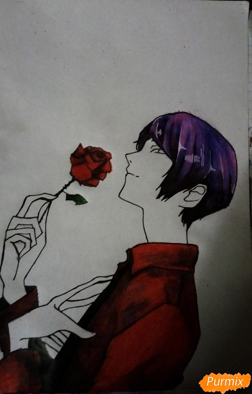 Рисуем Шу Цукияму из аниме Токийский гуль карандашами - шаг 14