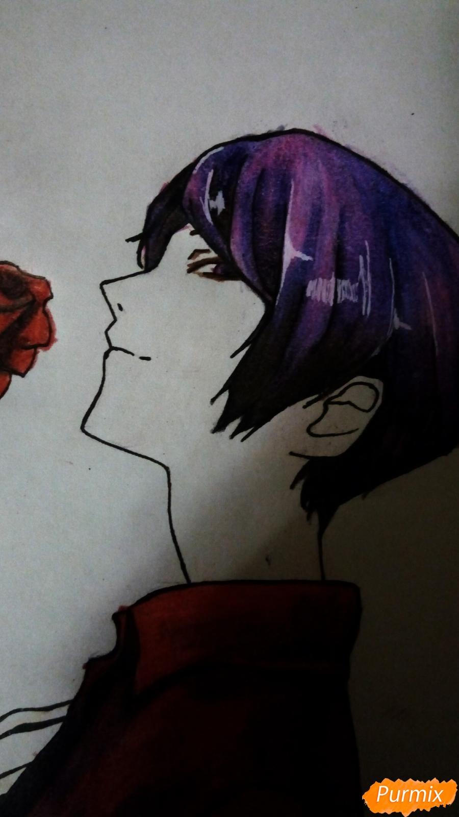 Рисуем Шу Цукияму из аниме Токийский гуль карандашами - фото 15