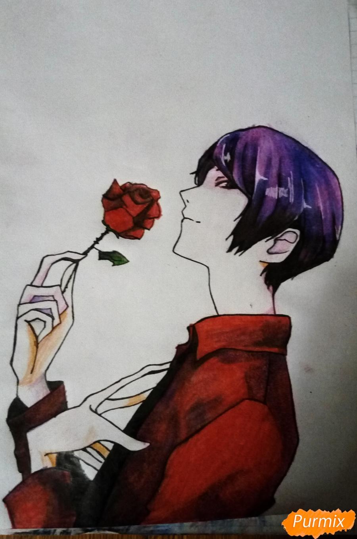 Рисуем Шу Цукияму из аниме Токийский гуль карандашами - фото 16
