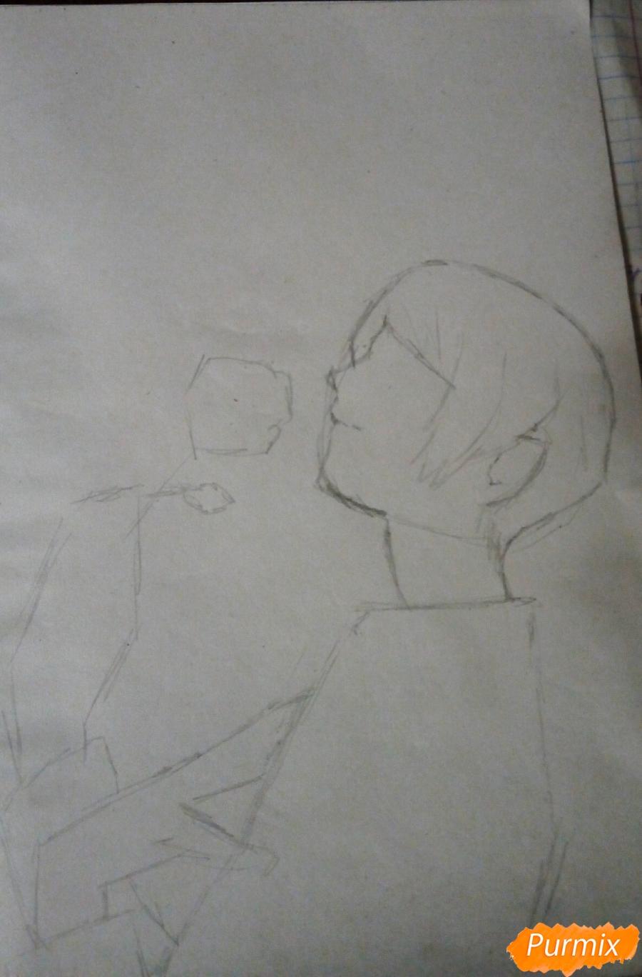 Рисуем Шу Цукияму из аниме Токийский гуль карандашами - шаг 2