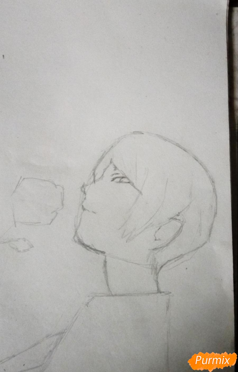 Рисуем Шу Цукияму из аниме Токийский гуль карандашами - шаг 3