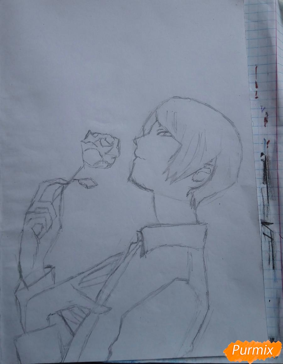Рисуем Шу Цукияму из аниме Токийский гуль карандашами - шаг 4