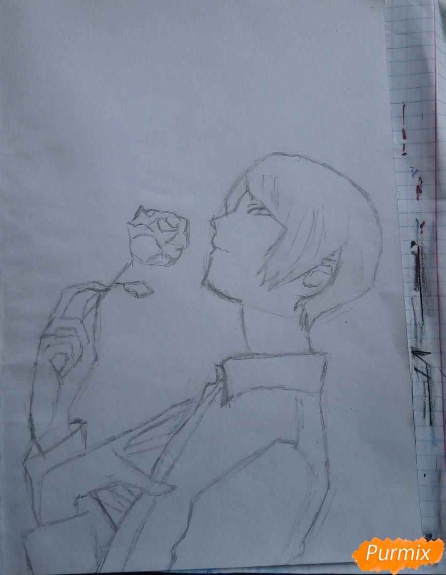 Рисуем Шу Цукияму из аниме Токийский гуль карандашами - фото 4