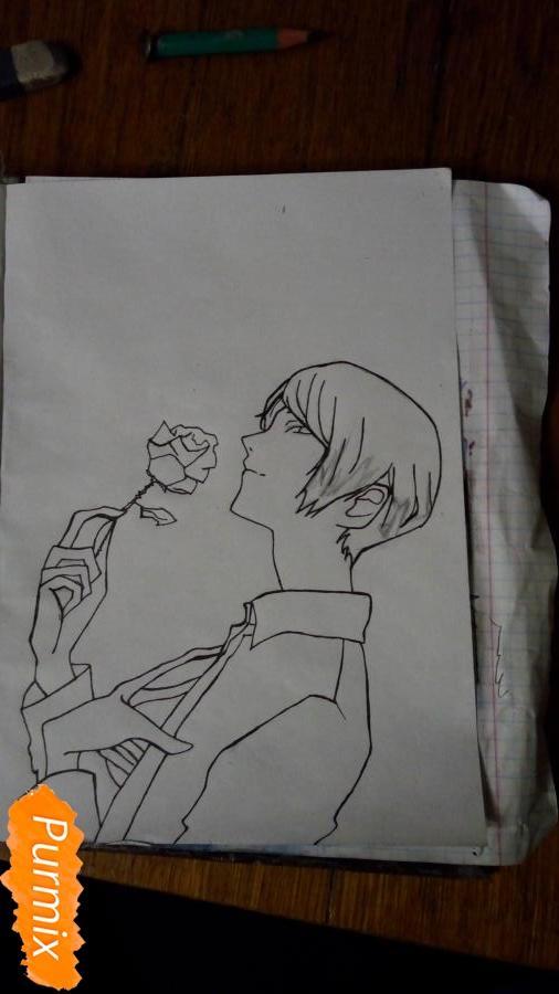 Рисуем Шу Цукияму из аниме Токийский гуль карандашами - шаг 6