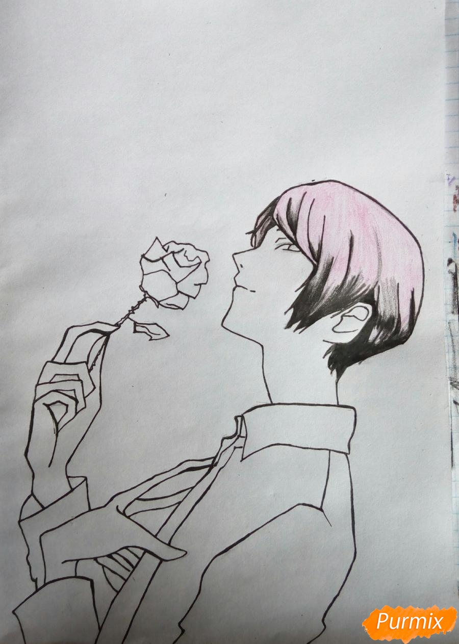 Рисуем Шу Цукияму из аниме Токийский гуль карандашами - фото 7