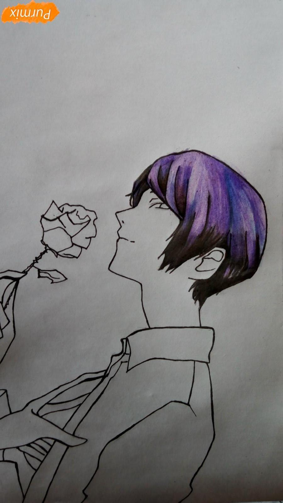 Рисуем Шу Цукияму из аниме Токийский гуль карандашами - шаг 9