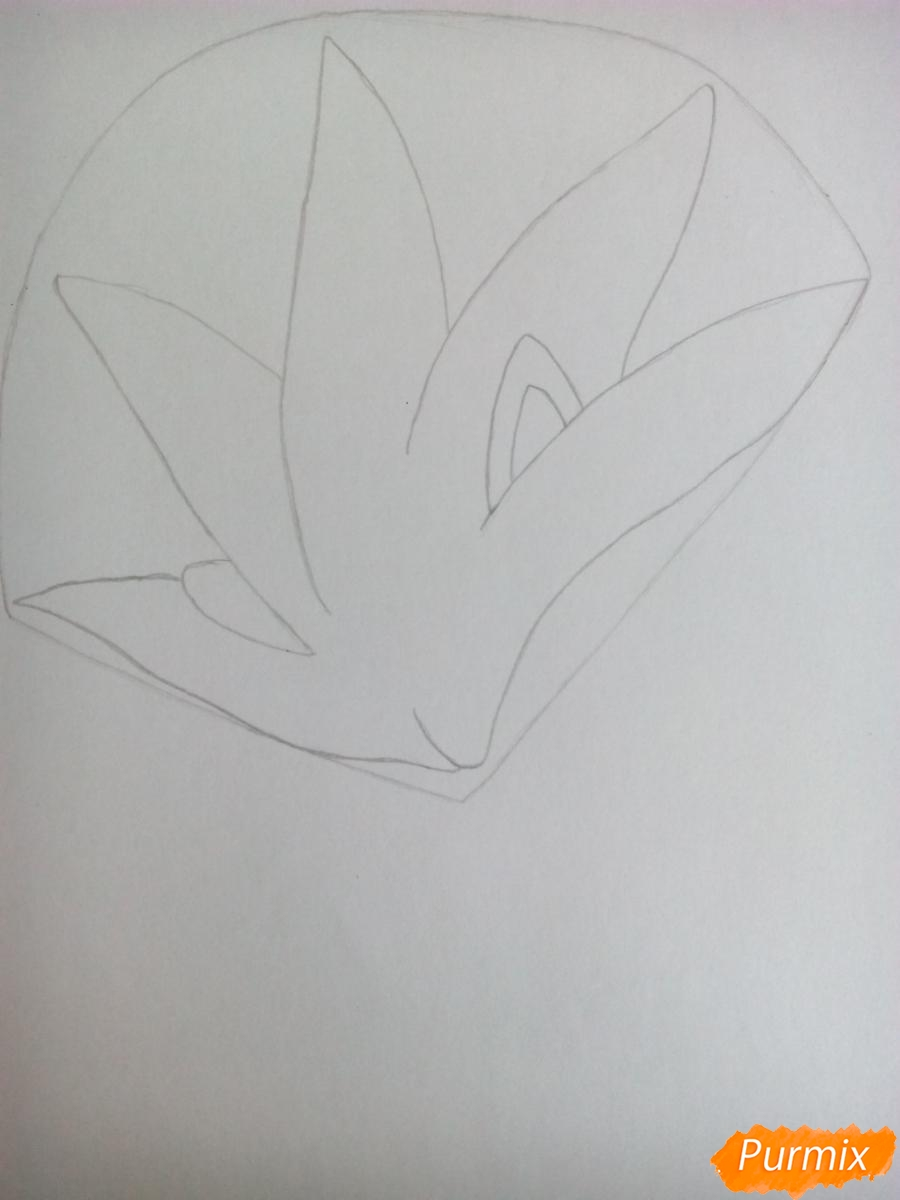 Рисуем Сильвера из аниме Sonic X карандашами - шаг 2