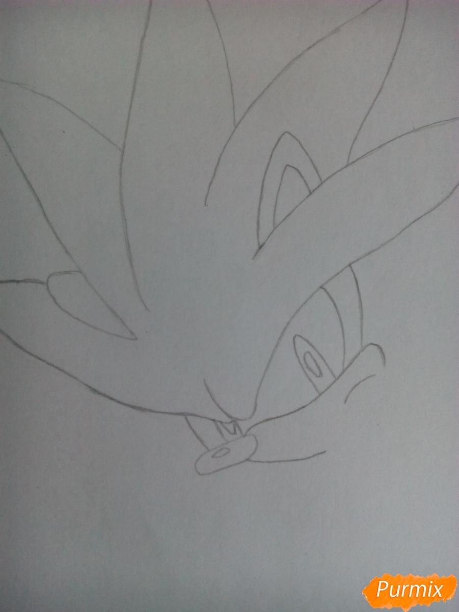 Рисуем Сильвера из аниме Sonic X карандашами - шаг 3