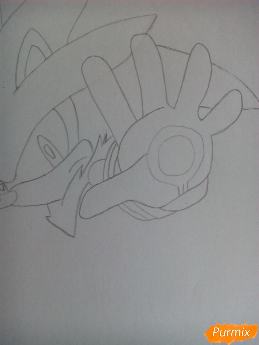 Рисуем Сильвера из аниме Sonic X карандашами - шаг 4