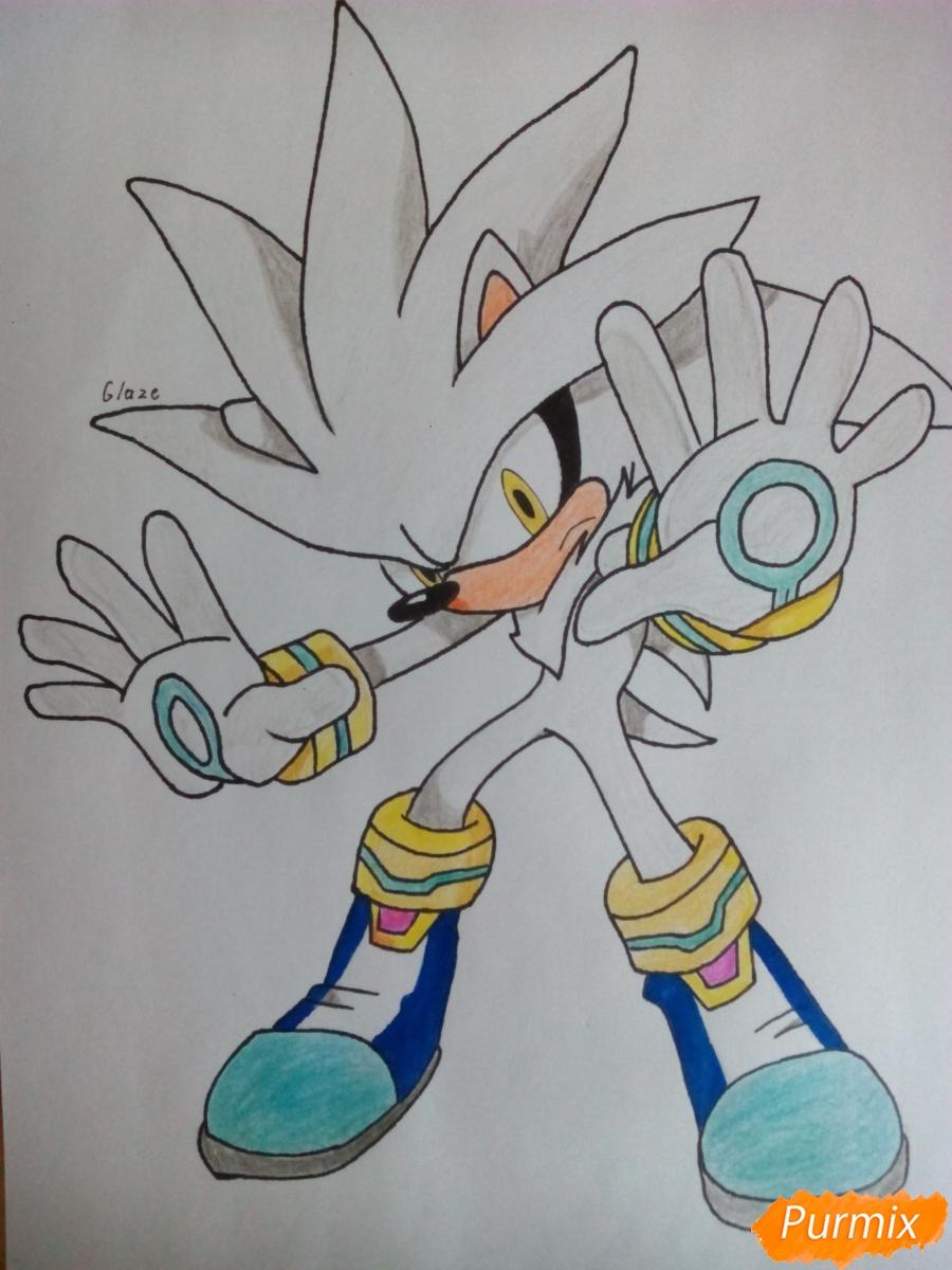 Как нарисовать Сильвера из аниме Sonic X карандашами поэтапно