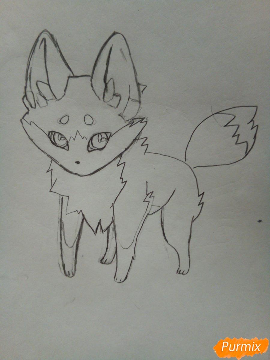 Рисуем сине-красного аниме лисёнка - фото 4