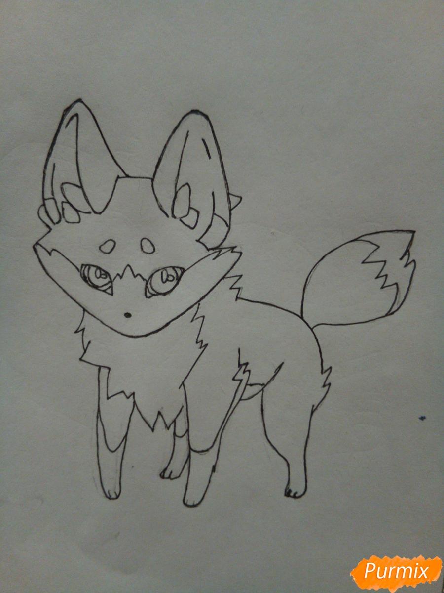Рисуем сине-красного аниме лисёнка - фото 5