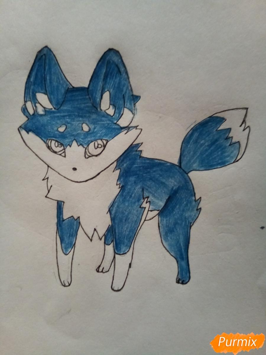 Рисуем сине-красного аниме лисёнка - фото 6