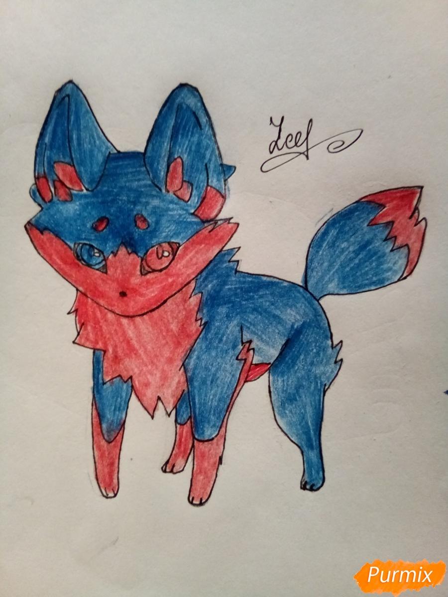 Рисуем сине-красного аниме лисёнка - фото 7