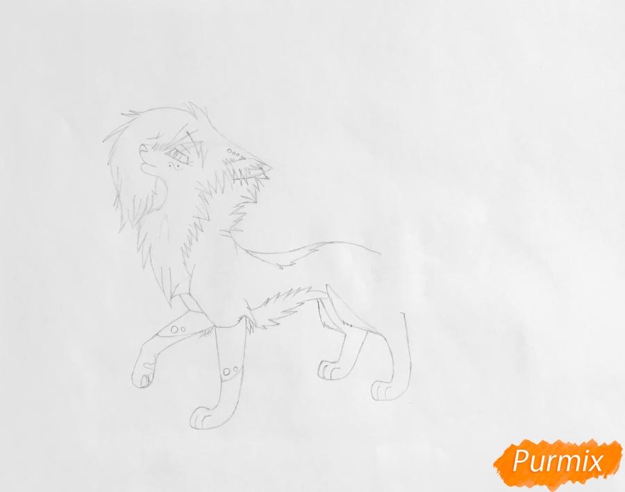 Рисуем синюю аниме кошку - шаг 4