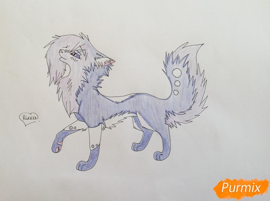 Рисуем синюю аниме кошку - шаг 8