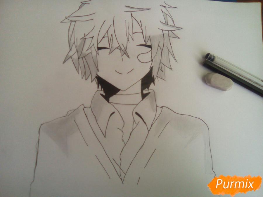 Как нарисовать Сион из аниме Шестая зона карандашами поэтапно