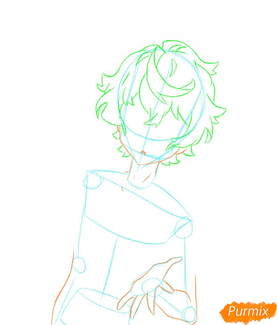Рисуем собственного аниме парня  для начинающих - шаг 3