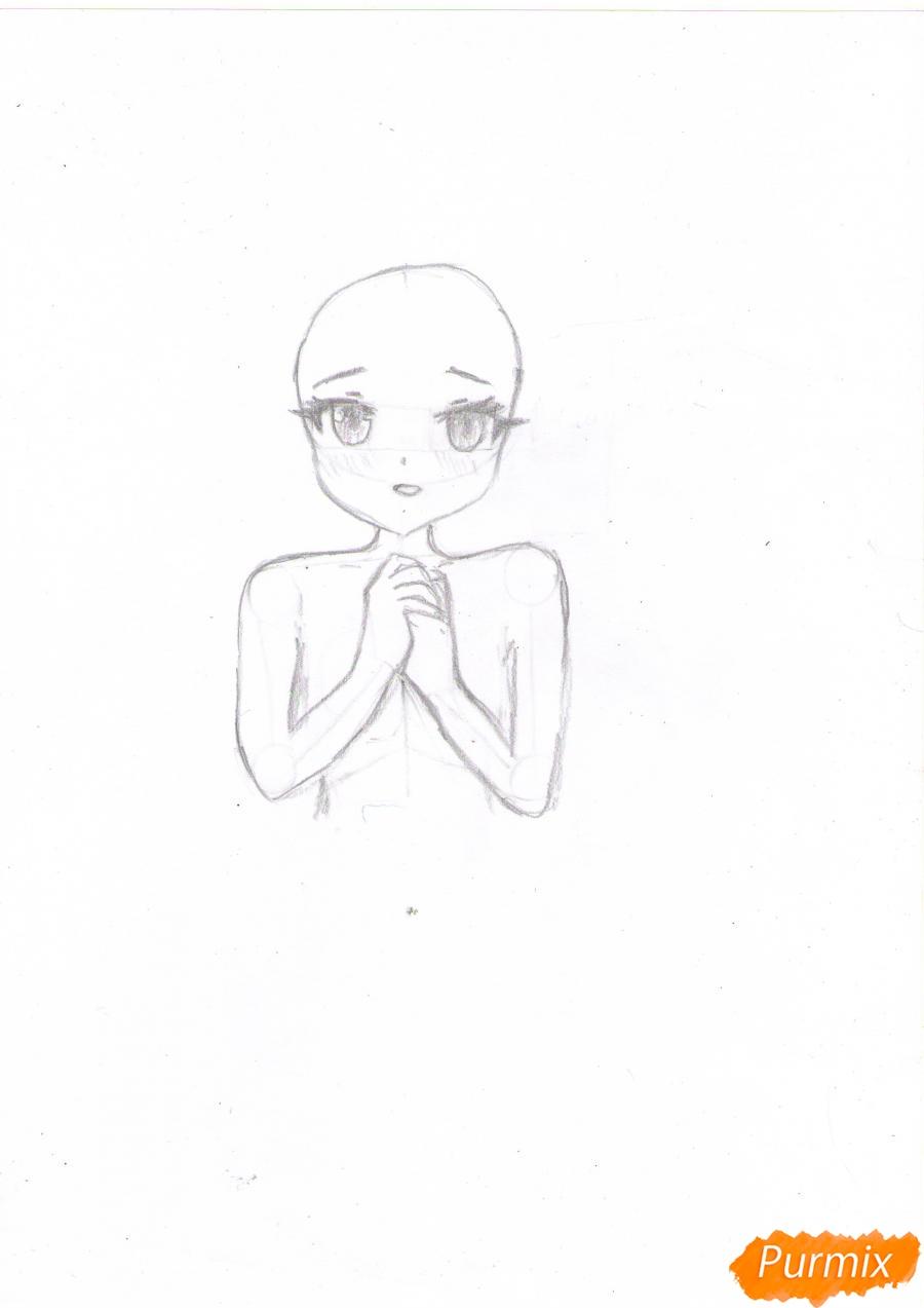 Рисуем собственную аниме девушку Эми карандашами - шаг 3