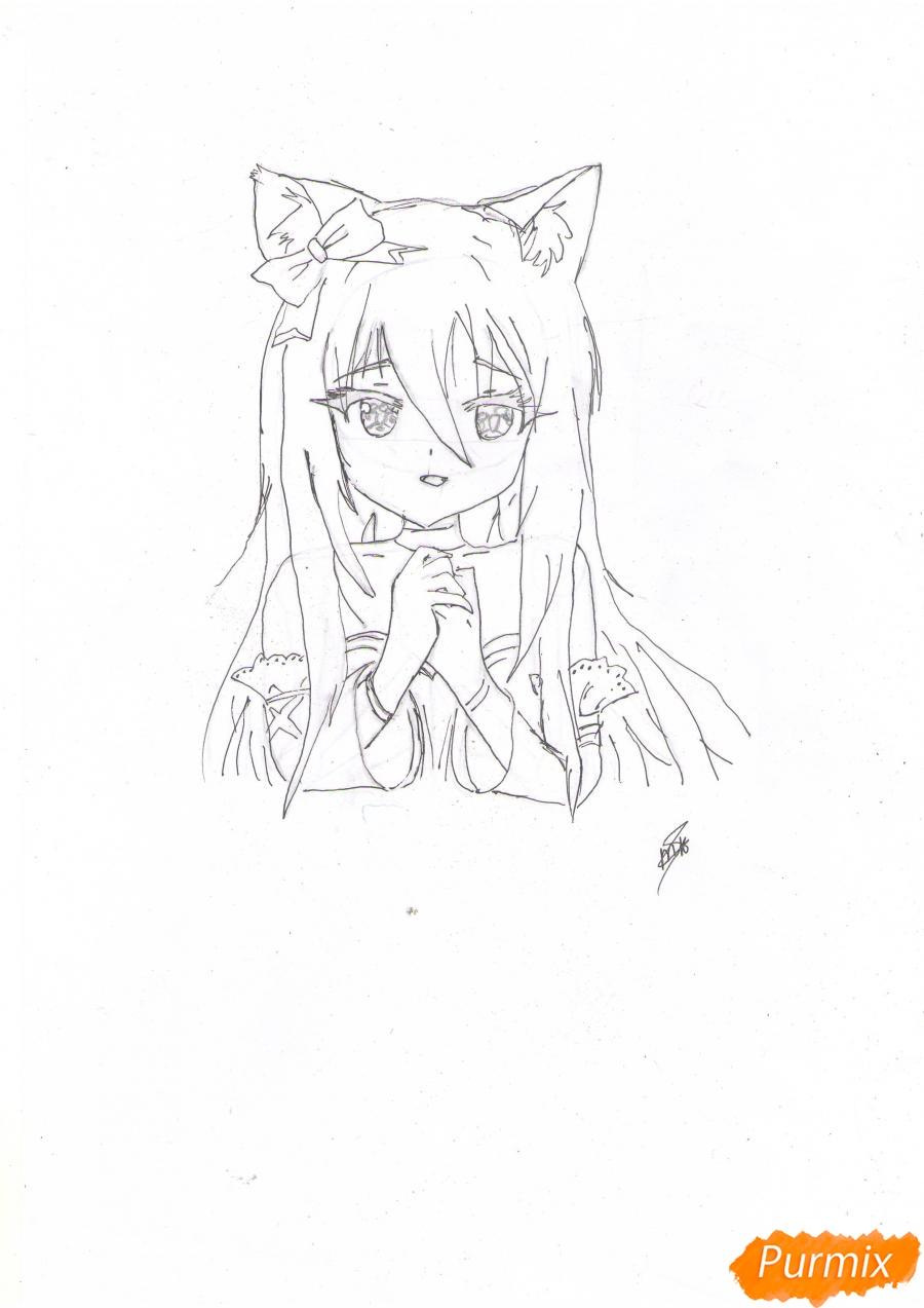 Рисуем собственную аниме девушку Эми карандашами - шаг 6