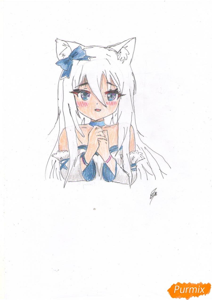 Рисуем собственную аниме девушку Эми карандашами - шаг 8